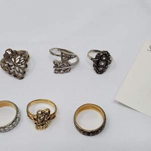 Lot #112 - Costume Rings, Various Sizes, Two are Cloisonne Bands