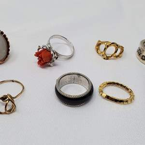 Lot #113 - Ladies Costume Rings, Various Sizes, One is Red Coral
