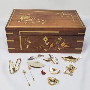 Lot #114 - An Assortment of Brooches and Jewelry Box with Inlaid Copper and Bronze