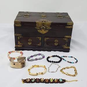 Lot #115 - An Assortment of Bracelets with Chinese Wood and Brass Jewelry Box