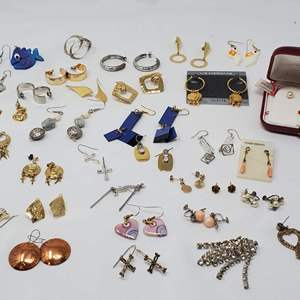 Lot #116 - 925 Sterling Earrings, 14K Post Pearl Studs, Copper, Enamel, Vintage