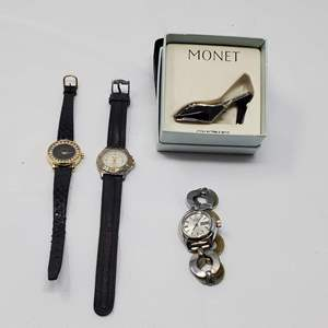 Lot #117 - Monet Collectible Shoe Box, Bill Blass Watch and More