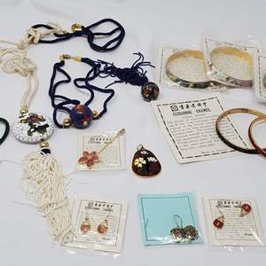Lot #118 - A Collection of Cloisonne Bangle Bracelets, Earrings, Pendants, Stickpin