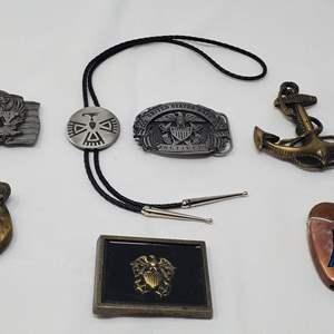 Lot #121 - Vintage Copper Lighter, U.S. Navy Belt Buckles and Bolo