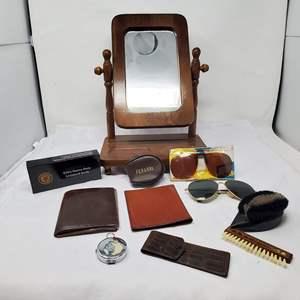 Lot #122 - Lockback Knife, NIB, Grooming Brushes, Leather Wallets, Compass, Ferrari Glasses, Mirrored Valet