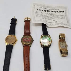 Lot #124 - Men's Watches: Vintage Hamilton, Adam & Eve, USC and Boeing