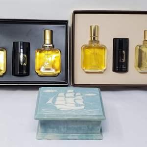 Lot #128 - Soapstone Carved Ship Box and Two NIB Paul Sebastian Gift Sets