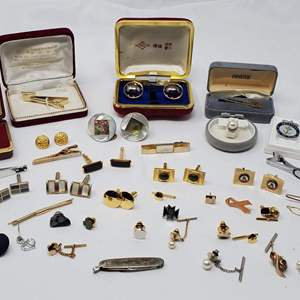 Lot #129 - An Assortment of Cuff Links: Abalone, Jade, Tie Bars, Tie Tacks and Mini Knife