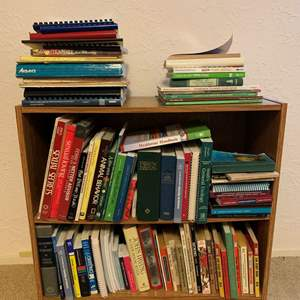 """Lot #133 - Wood Book Shelf Full of Books of Several Genres, 30"""" x 12"""" x 28""""h"""