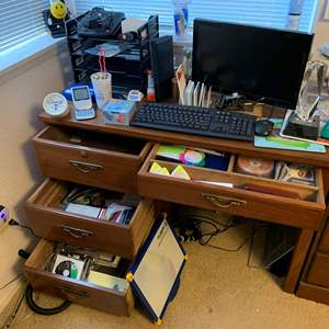 Lot #134 - Samsung Computer Monitor, Keyboard, Mouse and a Large Selection Of Office Supplies