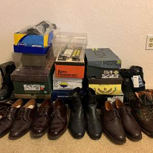 Lot #140 - Men's Dress Shoes, Some Leather, Boots and Slippers, Timberland, Totes, Bates Floataways