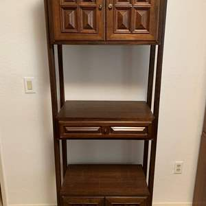 """Lot #142 - Vintage Tall Bookcase/Cabinet with Brass Hardware 26"""" x 16"""" x 73""""h"""