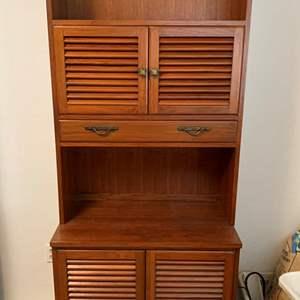 Lot #143 - Nice Wood Cabinet/Bookshelf with Shutter Doors and Brass Hardware
