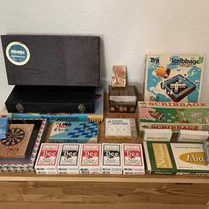 Lot #146 - Selection of Board Games and Playing Cards, Backgammon, Scribbage, Chess and Darts