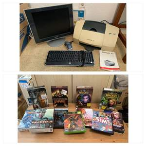 Lot #149 - Sony Computer Monitor, HP Keyboard, Lexmark Z53 Jet Printer and Various PC Games