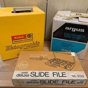 Lot #161 - Metal Deluxe Slide File, Argus Electromatic Slide Viewer, Kodak Ektagraphic Slide Projector Model AF