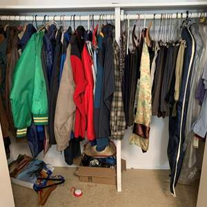 Lot #163 - Men's Clothing, Mostly Med., Belts, Shirts, Leather Coat, Banana Republic Denim