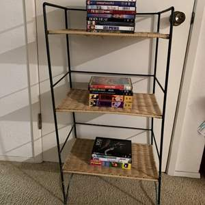 Lot #168 - Another Wicker and Metal Storage Rack and a Few DVDs