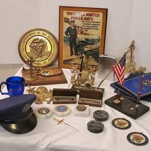 Lot #172 - Navy: Knives, Brass Plaques, Vintage Recruitment Sign, Desk Sets, Huge Stainless Lighter, Hat and More