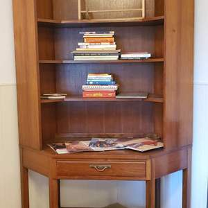 Lot #176 - Beautiful Teak Two Piece Bookcase, a Few Books and the Gap Store Promotional Displays
