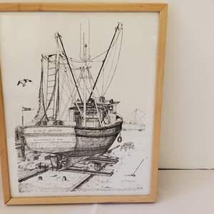 Lot #178 - Wm. Fitzgerald Signed Ink Sketch of Fishing Boat, Silverdale, WA