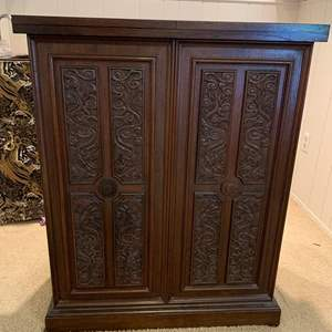 Lot #187 - Vintage Bar Cabinet with Carved Details, Marble Top, Extensions, Contents are Gift from Owner