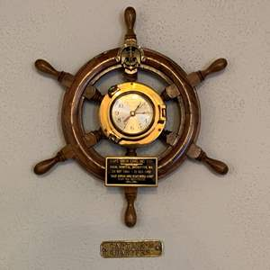 Lot #188 - Wood and Brass Ship Wheel with Brass Nautical Batt. Operated Ship's Time Clock