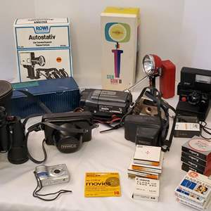 Lot #189 - Photography: Kenco & Hoya Filters, Olympus FE-170, Polaroid/Lenmar OS-2 Flsh, JVC Camcorder, Olympus Pen-FT, MORE