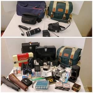 Lot #190 - Cameras, Light Meter, Filters, Lenses, Binoculars, Tripods and More