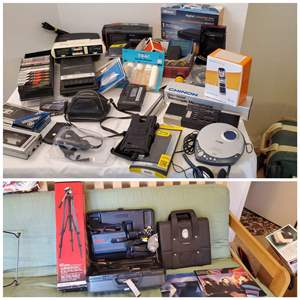 Lot #191 - Radios, Tripod, Cameras, Microphone, Lens, Camcorders, Angle Finder, 2 Vintage Empty Record Jackets, More