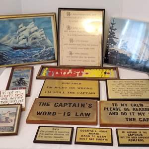 Lot #193 - Brass Plaques, Mt. Rainier Photo, 3-D Ship on Ocean