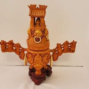 Auction Thumbnail for: Lot #194 -  Ornate Detailed Carved Asian Incense Burner