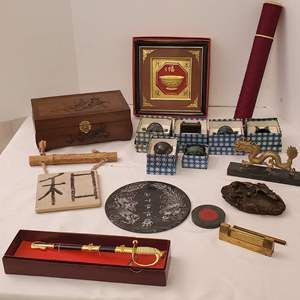 Lot #195 - Asian Decor: Brass Dragon on Marble, Carved Jewelry Box, Carved Marble Trivet and More