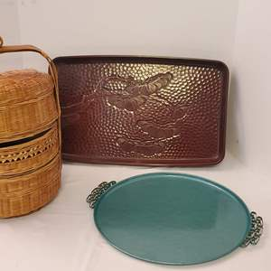 Lot #197 - Vintage Moire Glaze Kyes Tray-California, Carved Tray and Vintage Chinese 3-Tier Wedding Basket