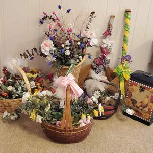 Lot #199 - Baskets Filled with Artificial Flower Picks and Decorative Brooms