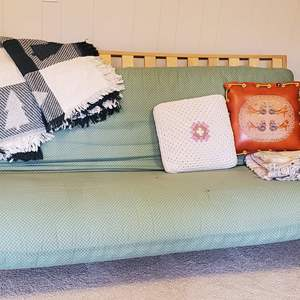 Lot #201 - Large Futon for Extra Guests, and Throw Blankets