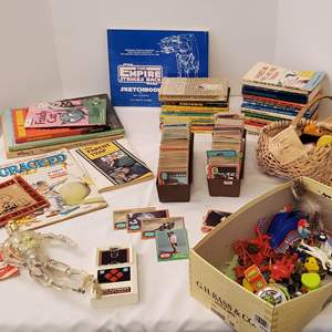 Lot #202 - Kid's Books, Toys, Buttons and Containers 1970's Star Wars Trading Cards and Others