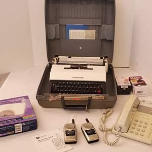 Lot #203 - Vintage Working Underwood 450 Manual, Walkie Talkies, Telephone, Answering System