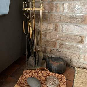 Lot #205 - Fireplace Cast Iron Pot, Brass Fireplace Tools/Holder, Log Carrier and More
