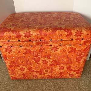 Lot #207 -  Vintage Tin/Metal Lined Storage Box with Vinyl Covering
