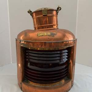 Lot #212 - Copper and Brass Ship's Port Running Light/Lantern with Ruby Red Fresnel Lens