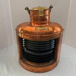Lot #214 -  Copper and Brass Ship's Starboard Running Light/Lantern with Emerald Green Fresnel Lens
