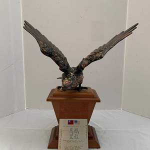 Lot #215 - Copper Eagle Statue On Wood Stand