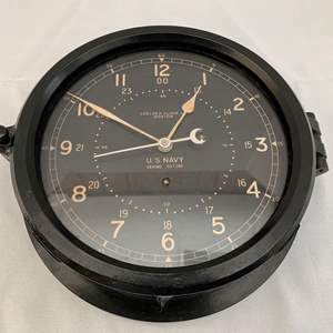 Lot #217 - 1960's Chelsea Clock Co. 24 Hour U.S. Navy Ship's Clock
