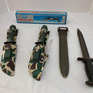 Lot #218 - Vintage M1 Bayonet with Scabbard and Two CTT Survival Knives