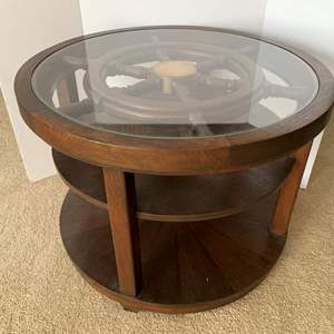 Lot #219 - Brass and Wood Ship's Wheel Side Table, Glass Top