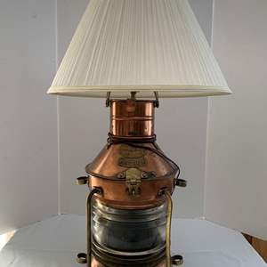 Lot #221 - Copper Ship's Anchor Light Made into Lamp, Clear Fresnel Lens, Tung Woo, Hong Kong
