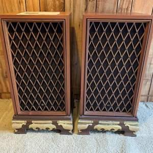 Lot #224 - Vintage Pioneer CS-88 Stereo Speakers on Asian Wood and Brass Platforms