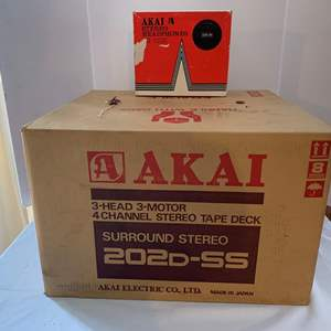 Lot #225 - Vintage Akai 3 Head 3 Motor 4 Channel Stereo Tape Deck Surround Stereo 202 D-SS & Akai Stereo Headphones ASE-95
