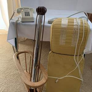 Lot #228 - Vintage Telephone, Arm Exerciser, Oster Massage Chair and Magazine Rack